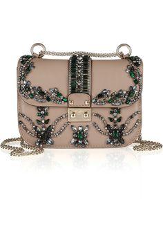 Valentino|Crystal-embellished leather shoulder bag