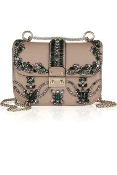 Valentino | Crystal-embellished leather shoulder bag