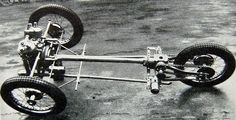 An early 2 speed chassis with rear quarter-elliptic leaf springs mounted below the bevel box. Morgan Cars, Bike Engine, Reverse Trike, Pedal Cars, Car Wheels, Go Kart, T Rex, Cars And Motorcycles, Cool Cars
