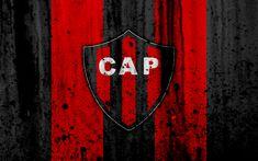 Download wallpapers 4k, FC Patronato, grunge, Superliga, soccer, Argentina, logo, Patronato, football club, stone texture, Patronato FC