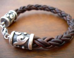 Braided Mens Leather Bracelet with Rhodium Plate Caps and Clasp -Natural Antique Brown, Fathers Day Gift, Mens Bracelet, Mens Jewelry Leather Cuffs, Leather Jewelry, Leather Men, Men's Jewelry, Leather Cord, Male Jewelry, Leather Bracelets, Leather Jackets, Pink Leather