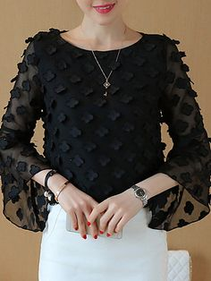 Round Collar Patchwork Bell Sleeve Blouse Shop the latest women's clothes and keep your style game strong with the freshest threads landing daily. Cheap Blouses, Blouses For Women, Women's Blouses, Online Clothing Stores, Wholesale Clothing, Bell Sleeve Blouse, Bell Sleeves, Fashion Outfits, Fashion Blouses