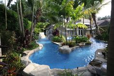 Custom Rock Water Features #rock #water #fall #pool #design #custom #builder #fountain #Van #Kirk #Pools