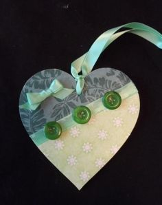 10 cm decorated hanging heart (green) - SALE item 50% off £2.00