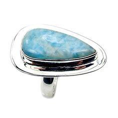 'Blue Drop' Sterling Silver Rare Genuine Dominican Larimar Ring, Size 6