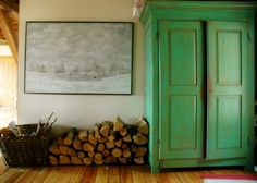 update for pine armoire downstairs.   emerald green and nature