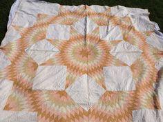 Vintage hand quilted Texas Star Quilt full by Prairiegirltreasure, $149.95