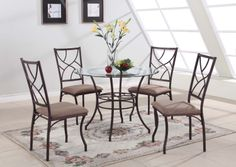 modern round dining room kitchen table and 4 chairs