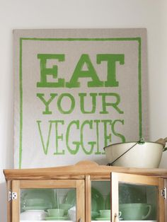 Make any sign you want with paint, canvas, and a frame #eatyourveggies #diy #hgtvmagazine http://www.hgtv.com/decorating-basics/the-abcs-of-diy-decorating/pictures/page-11.html?soc=pinterest