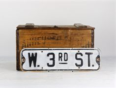 Street Sign Black and White, Vintage Street Sign, Old Metal Street Sign, Embossed Street Sign, Distressed Old Metal Sign, W. 3rd St. Sign by HuntandFound on Etsy