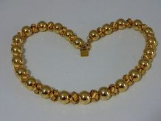 Awesome Vintage ANNE KLEIN Gold Tone Beads on a Chain Necklace