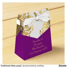 Traditional White Purple And Gold Damask Wedding Favor Box