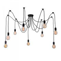 Lampada a sospensione Spider nera per 9 lampadine
