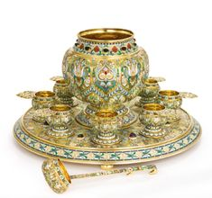 A Massive Russian Gem-Set Gilded Silver and Enamel Punch Set, Ovchinnikov, Moscow, 1899-1908
