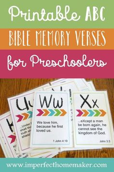 Free printable ABC memory verses for preschoolers. These attractively designed flashcards have verses that are just the right length for young children. All scriptures are taken from the King James Version of the Bible. Bible Verses For Kids, Bible Study For Kids, Kids Memory Verses, Memory Verse Games, Sunday School Lessons, Lessons For Kids, Tot School, School Fun, School Ideas