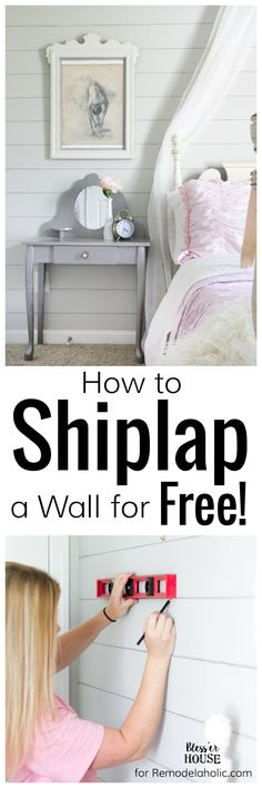 A quick and easy tutorial on how to shiplap a wall for free using just two standard toolbox items. No hard labor, no damage, and no commitment needed. Fixer Upper, Home Renovation, Home Remodeling, Faux Shiplap, Plank Walls, Ship Lap Walls, Diy Home Improvement, Wall Spaces, Decoration
