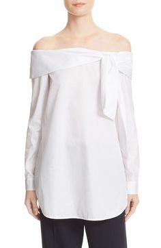 Tibi Luxe Tuxedo Off the Shoulder Bow Top available at #Nordstrom