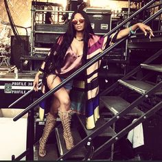 Ciara.. Dries Van Noten Roslyn Striped Coat, and Giuseppe Zanotti Textured Suede Knee Boots.. #Coachella