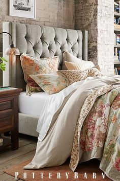 Soft, muted hues and vintage-inspired florals for the modern bed.