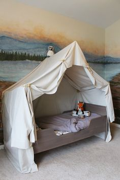 Camping Tent Bed in a Kid's Woodland Bedroom Camping Bedroom, Tent Camping Beds, Indoor Camping, Bed Tent, Canopy Tent, Bed Canopies, Tent Room, Budget Bedroom, Kids Bedroom