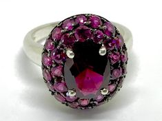 Vintage Sterling Silver 3 CT Pyrope Garnet and apprx 4 ctw Rhodolite Cluster Cocktail Statement Ring Boho  Size 8.5 January Birthstone by AdornedInHistory on Etsy