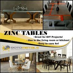 Check out our videos for DIY zinc tables & counter tops at Rotometals.com Zinc Table, Dining Table, Zinc Sheet, Kitchen Paint, Counter Tops, Diy Furniture, Tables, Decorating Ideas, Diy Projects