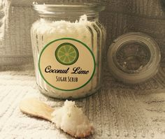 Coconut Line Sugar Scrub - 1 cup sugar, coconut oil 1/4 cup, lime zest 2 tbsp, lime essential oil 8-10 drops. Summer has arrived, great scrub for hands to have by the kitchen sink! :)