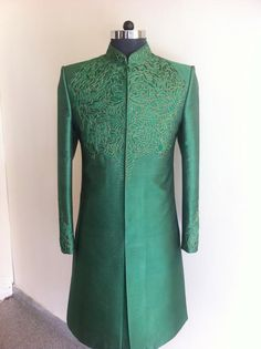 Green Sherwani with Thread Embrodiary. Classic and clean at SAGAR TENALI.
