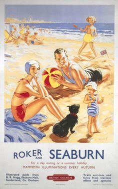 Roker and Seaburn BR poster, 1953.Artwork by Alfred Lambart (1902-1970).