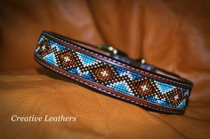 Handmade dog collar with english bridle leather and solid brass hardware