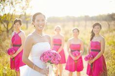 Wedding Bridal Party photos in nature! - Fall photoshoot! Pink and black colors! Pink Daisies and bridesmaid dresses! Nakai Photography