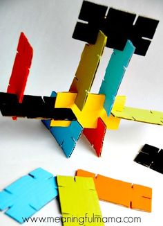 Your kids will love making these DIY Cardboard Stackers. This kid craft makes amazing homemade building toys for kids using recycled materials. Discover the best baby toys for your youngsters Kids Crafts, Projects For Kids, Crafts To Make, Craft Kids, Recycling For Kids, Diy For Kids, Upcycled Crafts, Crafts With Recycled Materials, Diy Recycled Toys