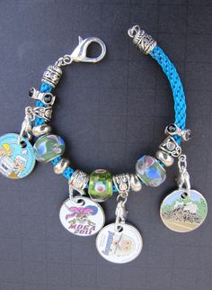 Lampwork Bead 4-Pathtag Bracelet, Blue Satin Hand-Braided Geocaching Jewelry, Geocacher Gift