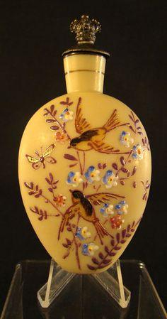 Boston & Sandwich Glass Fire-glow Scent Bottle with Enameled Birds, Flowers & Butterflies