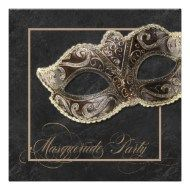 Shop Masquerade Party Invitation - Bronze, gold & black created by chocolattedesigns. Personalize it with photos & text or purchase as is! Masquerade Party Invitations, Anniversary Party Invitations, Masquerade Theme, Halloween Masquerade, Masquerade Costumes, Halloween Invitations, Masquerade Ball, Anniversary Parties, Mardi Gras Costumes