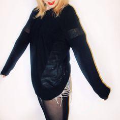 Peekaboo! The Visionary sheer panel sweater by Evil Twin, at shopblacksalt.com