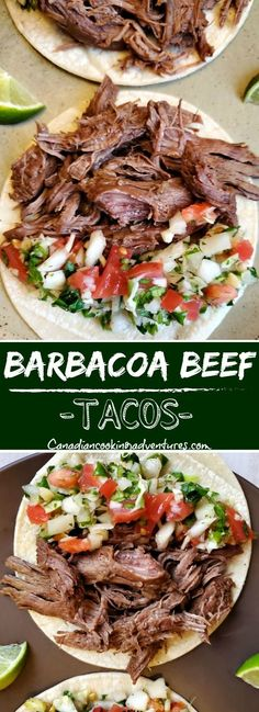 Barbacoa Beef Tacos Barbacoa Beef Tacos (Slow Cooker) This Barbacoa Beef Recipe is made in simmered slowly in a (Slow Cooker) for 8 hours in a Chipotles adobo sauce along with green chilies and some seasonings. Beef Carnitas, Beef Barbacoa, Carne Asada, Slow Cooker Recipes, Cooking Recipes, Slow Cooker Mexican Beef, Gourmet, Recipes, Mexican Food Recipes