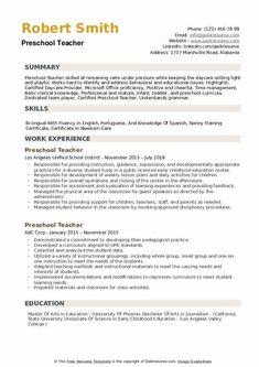 10 Resume Objective for Preschool Teacher 10 Preschool Teacher Resume, Teacher Resume Template, Preschool Curriculum, Cv Template, Good Cv, School Worksheets, Printable Worksheets, Typing Skills, Resume Writing
