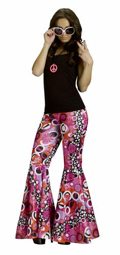 Sexy Hippie 60s 70s Go Go Mod Groovy Flower Bell Bottom Pants Costume