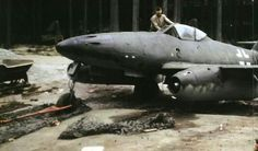 Completed - even down to the camouflage paint finish - Me 262 discovered at the KUNO I forest factory complex - note the line up of Me 262 tail assemblies under the pines Ww2 Aircraft, Fighter Aircraft, Military Jets, Military Aircraft, Luftwaffe, Fighter Pilot, Fighter Jets, Bf 109 K4, Me262