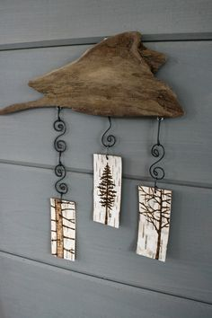 Three Trees - Mobile/Wall Hanging - Woodburning on Birch: