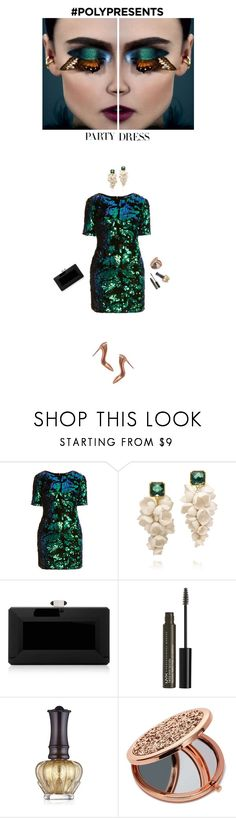 """""""#PolyPresents: Party Dresses"""" by helena99 ❤ liked on Polyvore featuring Topshop, Christian Louboutin, Tory Burch, Judith Leiber, NYX, Anna Sui and Miss Selfridge"""