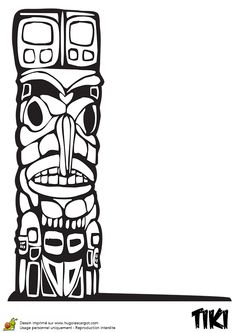 Dessin à colorier du Totem Tiki