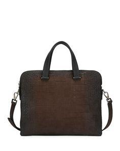 1c8c9bdfeb17 Salvatore Ferragamo Mens Firenze Animal Embossed Leather Briefcase