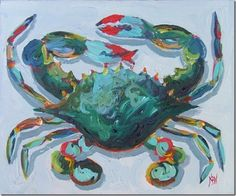 Things That Inspire: An iconic design photo: one degree of separation Crab Art, Fish Art, Crab Painting, Rock Painting, Watercolor Painting, Abstract Canvas, Canvas Art, Sea Life Art, Coastal Art