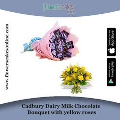 Its a great gift for the chocolate lovers. This gift also includes bunch of 12 yellow roses wrapped beautifully. #FlowersCakesOnline
