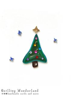 Christmas Tree paper quilling greeting card by QuillingWonderland, Christmas Cards To Make, Christmas Items, Christmas Crafts, Christmas Tree, Christmas Wreaths, Quilling Patterns, Quilling Designs, Quilling Ideas, Quilling Paper Craft