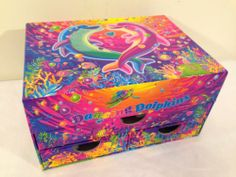 Lisa Frank Dancing Dolphin Jewelry Stationery Box w/ Drawers Vintage? Glittery