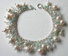 Pearl+and+Amazonite+Sterling+Silver+Charm+Bracelet+by+MrsGibson,+$95.00
