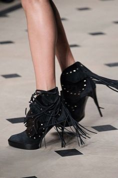 black suede fringe ankle boots